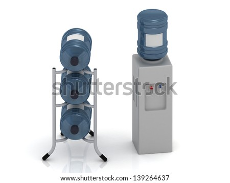 Water cooler with bottles and three bottles of water on the stand
