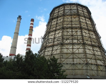 Water cooling tower at old electric power plant