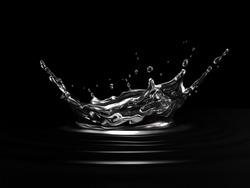 Water crown splash. On black background. Side view.