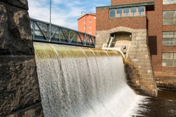 Water dam of an old cotton factory in Tampere industrial city of Finland