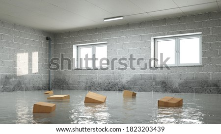 Water damage in household insurance after a pipe burst or flood in the basement or garage with mold (3d rendering) Foto stock ©