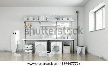 Water damage in the laundry room in the basement with mold on the damp walls (3d rendering) Foto stock ©