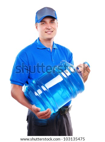 Water delivery courier holding the bottle of water on a  white background