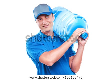 Water delivery courier in a light blue uniform on a  white background