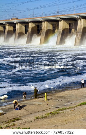Water discharge at the hydropower plant #724857022