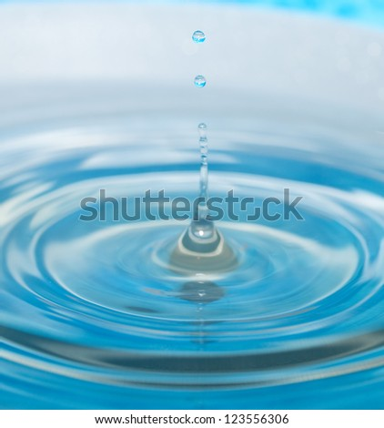 water drop and splash on a blue background