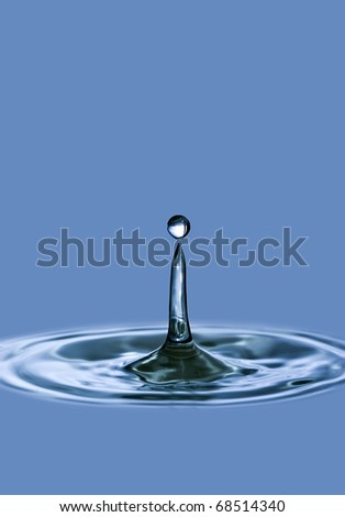 water drop and water rings closeup