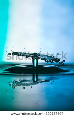 Water drop falling and colliding with another one