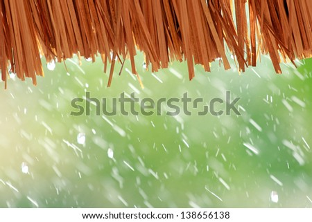 water drop falling from the straw roof, Raining background