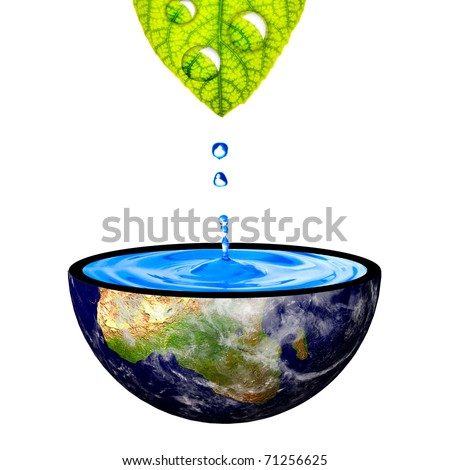 Water drop from leaf on to the earth. Concept for environmental conservation. Data source: NASA