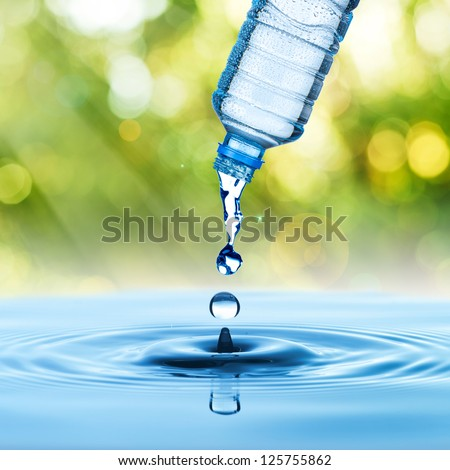 water drop from water bottle with green nature background