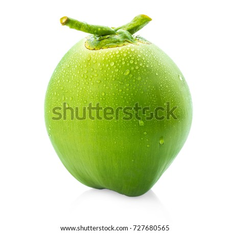 water drop green coconut isolated on white background #727680565