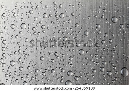 Water drop on Brushed metal texture ; abstract industrial background