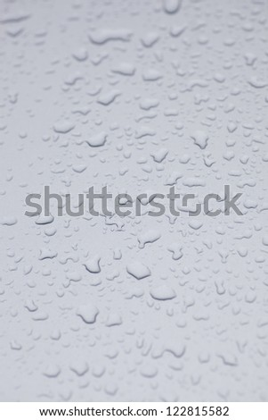 water drop on the grey iron plate surface