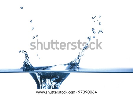 Water drop with shallow depth of field isolated on white background