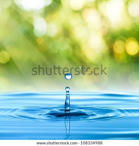 water drop with summer background - stock photo