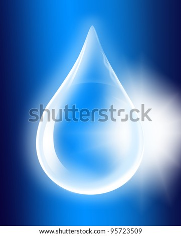 Water drop with water molecules, on light blue background