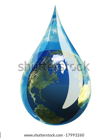 Water droplet with the planet earth inside isolated on white.