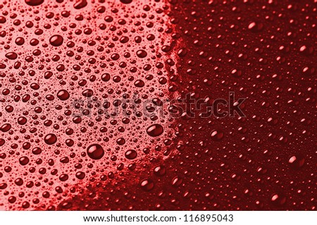 water droplets are red. abstract background