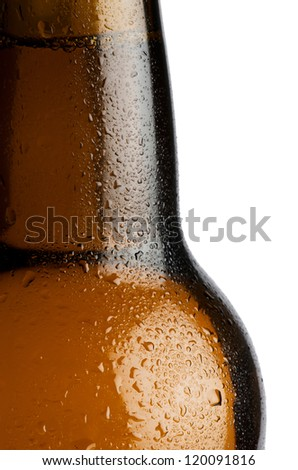 Water droplets on a beer bottle with white background