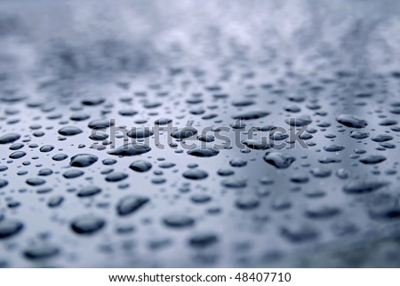 Water droplets on a freshly waxed green car