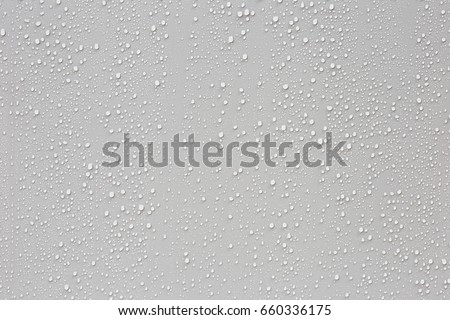 Water droplets on a gray background