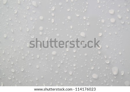 Water droplets on a white background.