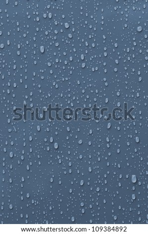 Water Droplets on Blue Metallic Surface