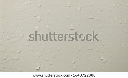 water droplets on white background.Water droplets beside the bathroom wall.