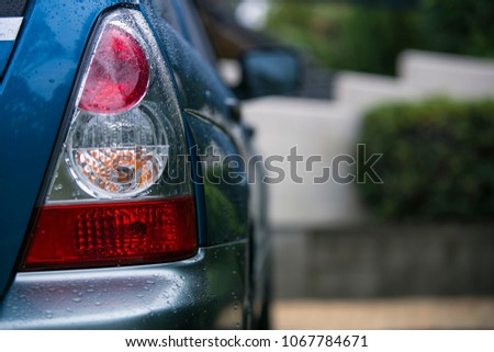 Water dropped on rear car indicator light