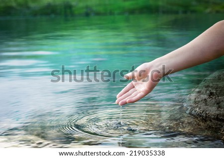 water dropping from a hand
