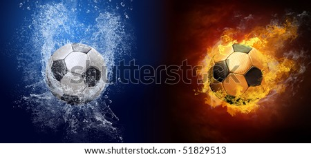 Water drops and fire flames around soccer ball on the background