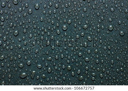 water drops on a dark surface