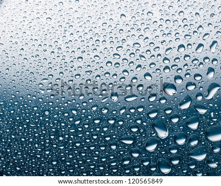 water drops on a metal sheet with a real gradient