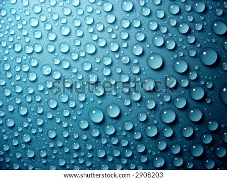 water-drops on blue background