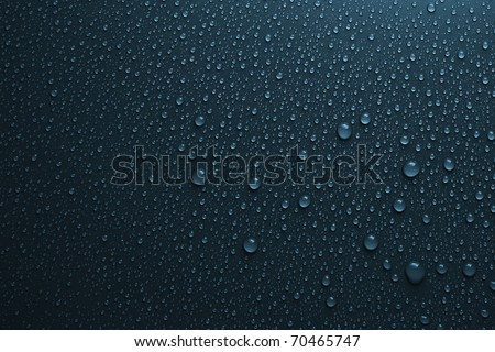 water drops on dark blue