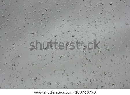 Water drops on glass against the storm sky