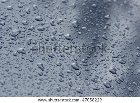 Water drops on metal