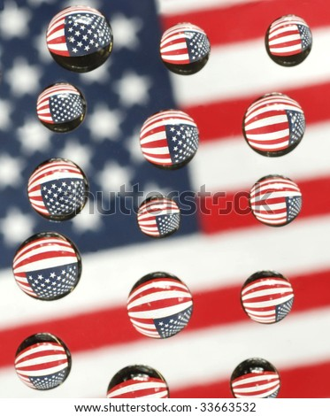 water drops on plexi reflecting an American flag