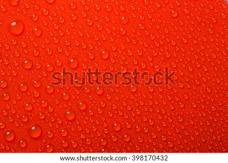 Water Drops On Red Background