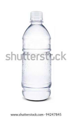 water drops on small bottle of water
