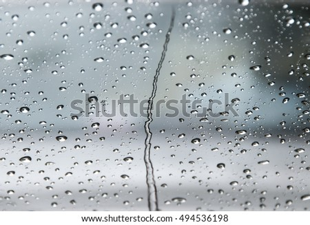 water drops on the car window #494536198