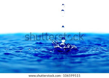 Water drops on the clear water.