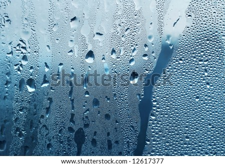 Water drops on window - stock photo