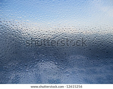 water drops on window glass background