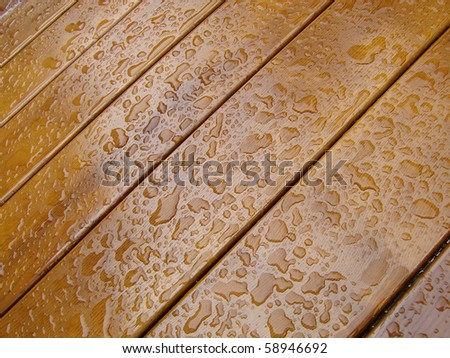 Water drops on wooden table