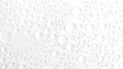 Water drops rain or droplet on white background. Condensation is the process of a substance in a gaseous state transforming liquid.