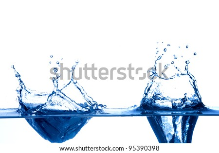 Water drops with shallow depth of field isolated on white background