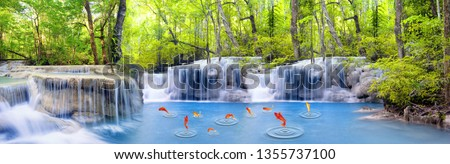 water fall in forest nature pic.