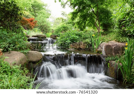 Water fall over rocks in forest